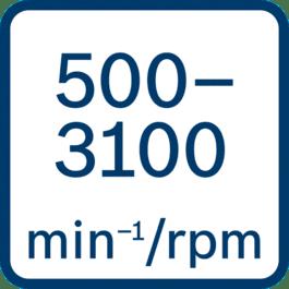 No load speed 500 - 3100 min-1/rpm