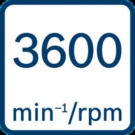 No load speed 3600 min-1/rpm
