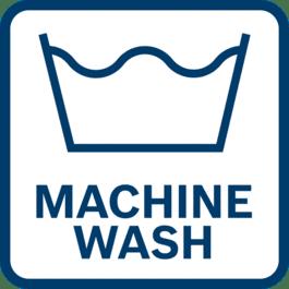 Machine wash on a moderate temperature setting.
